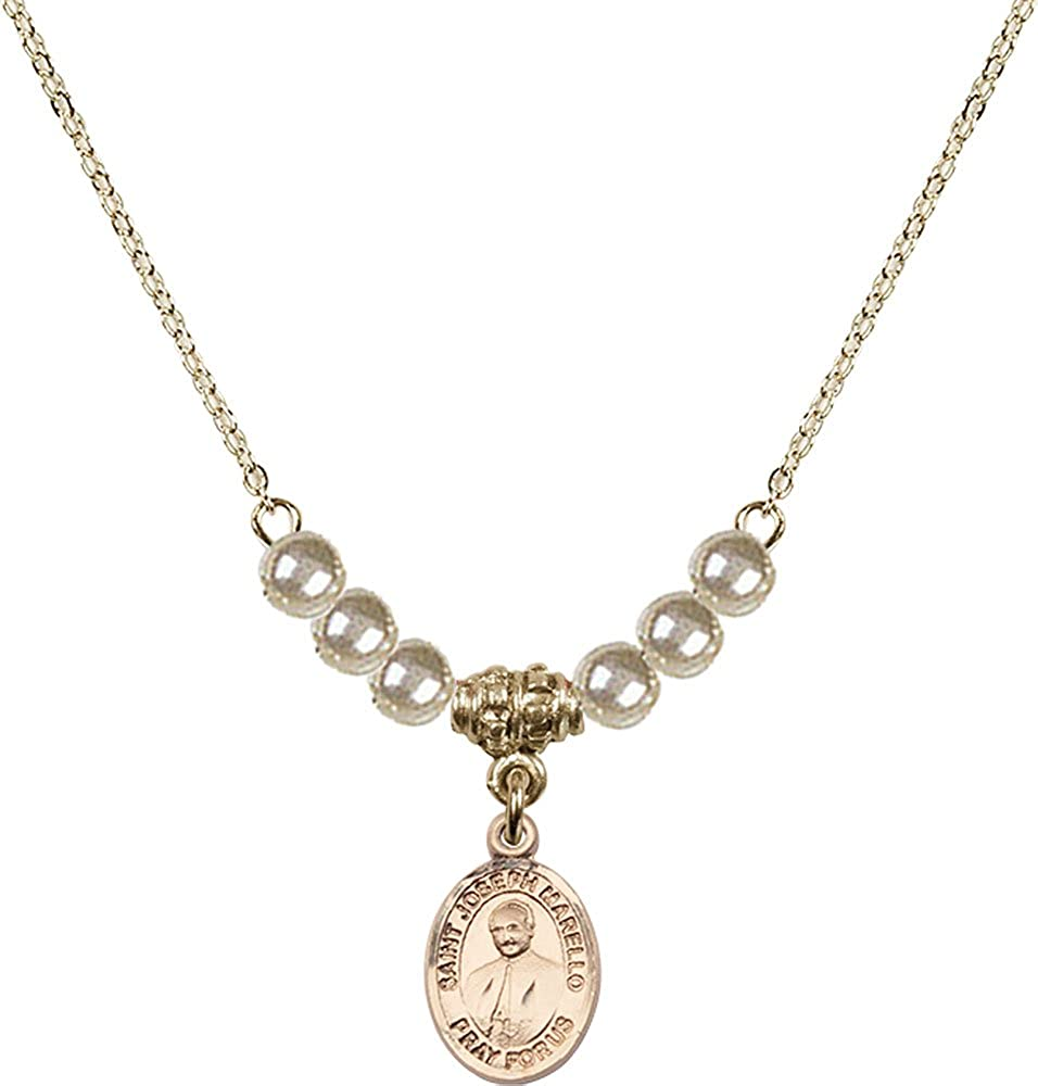 18-Inch Hamilton Gold Plated Necklace with 4mm Faux-Pearl Beads and Gold Filled Saint Joseph Marello Charm.