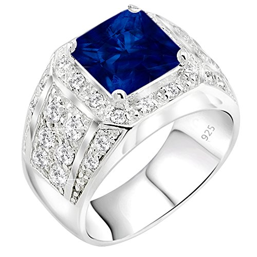 Men's Sterling Silver .925 Ring Synthetic Blue Sapphire Stone High Polish Princess Cut 32 Round Prong-Set Cubic Zirconia Clear (CZ) Stones, Platinum Plated Jewelry (11)