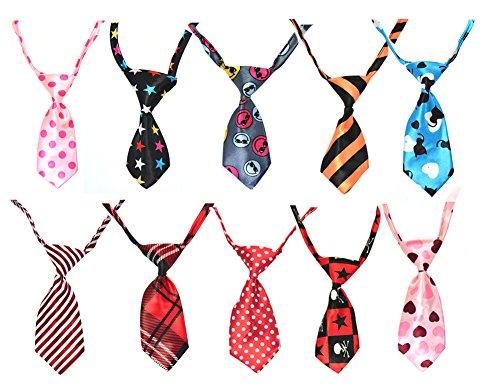 Paialco 10/PCS Necktie for Dog Cat Pet Tie Collar Assorted