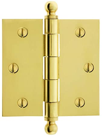 3 1/2\u0026quot; Solid Brass Door Hinge With Ball Finials In Polished Brass