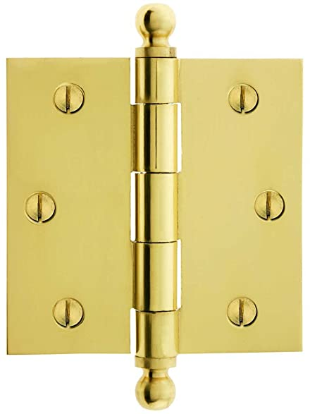 """3 1/2"""" Solid Brass Door Hinge With Ball Finials In Polished Brass - 3 1/2"""