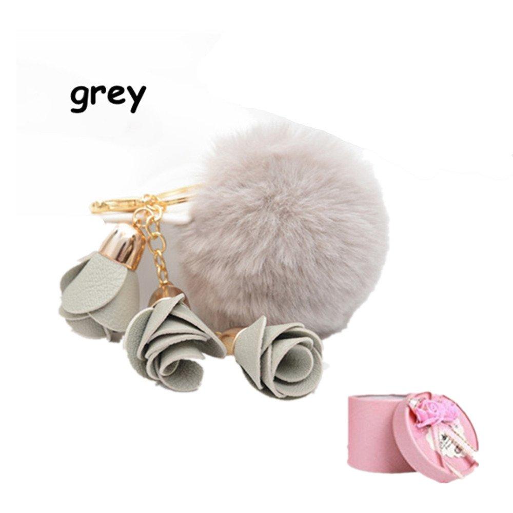 ec5e62154b7 King  Pig Hot Fashion Women Rose Pendant Fur Pom Pom Ball Charm Car  Keychain Handbag Key ...