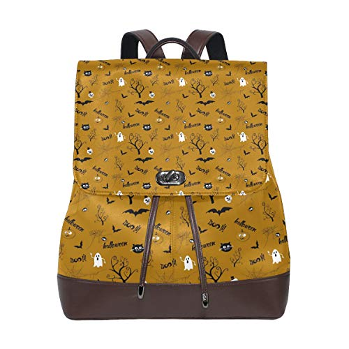 Leather Halloween Pattern With Ghost Backpack Daypack Bag Women ()