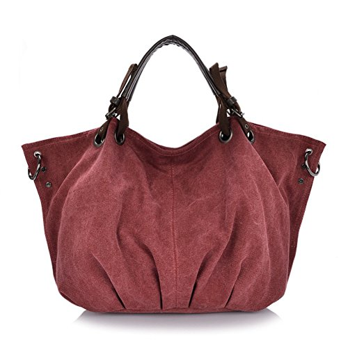 Kissar Women's Vintage Oversized Simple Casual Canvas Tote Leather Crossbody Handbag Wine Red