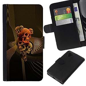 KLONGSHOP // Tirón de la caja Cartera de cuero con ranuras para tarjetas - Oro Orange Music Muerte Huesos Roca - LG Nexus 5 D820 D821 //