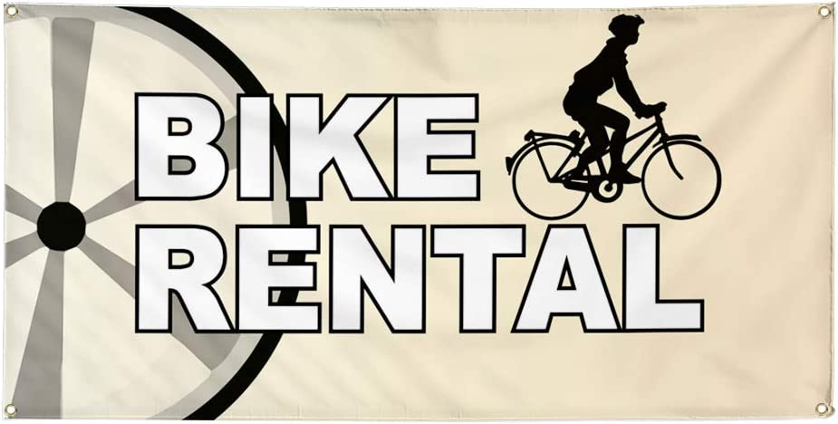 Vinyl Banner Multiple Sizes Bike Rental Business B Business Outdoor Weatherproof Industrial Yard Signs White 10 Grommets 60x144Inches