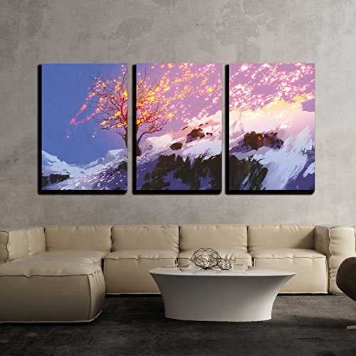 Fantasy Landscape Showing Bare Tree in Winter with Glowing Snow x3 Panels