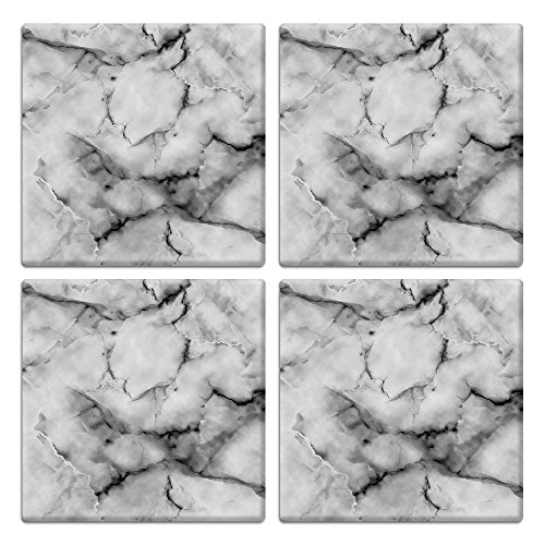 CARIBOU SQUARE Ceramic Stone Coasters 4pcs Set, Mug Coffee Cup Place Mat Home Coasters for Hot & Cold Drinks, Gray White Marble ()