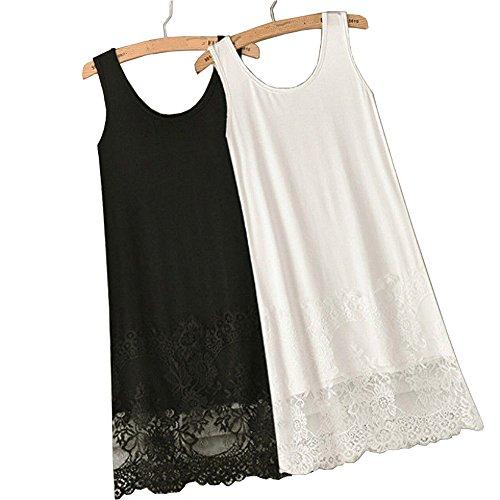 YOUMU Sexy Vest Lace Dress Render Extender Long Tanks Cotton Top Sleeveless Trim Layer (M, White)