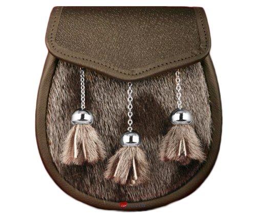 Semi Dress Sporran Fur Plain Leather Flap Brown