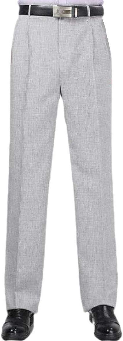 VITryst Men Gentleman Business Non-Iron Straight Middle Waist Plain Front Pant