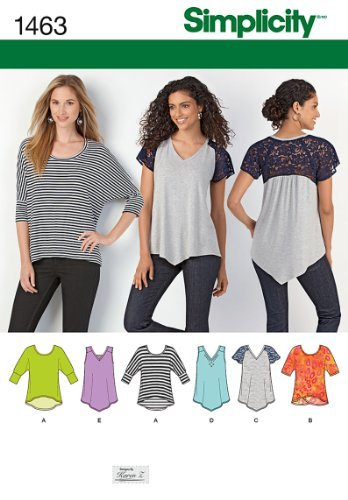 Simplicity Designs by Karen Z Pattern 1463 Misses Knit Tops Sizes 4-26 XXS-XXL / Available in Sizes: A (XXS-XS-S-M-L-XL-XXL). Instructions are written in English, French and Spanish. Made in the USA.