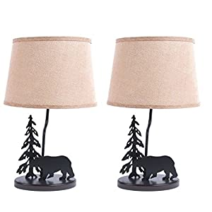 DEI Metal Burlap Shade Bear Set of 2 Décor Lamp Medium Black