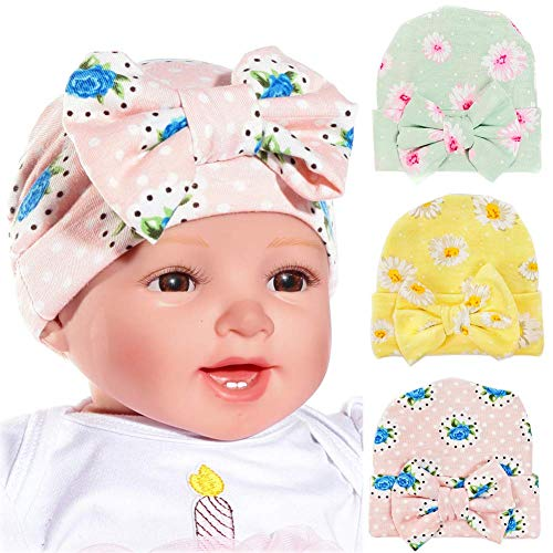 Ademoo Newborn Baby Girls Nursery Beanie Hospital Hat with Bow (3 Pack Bow / 0-3 Month)