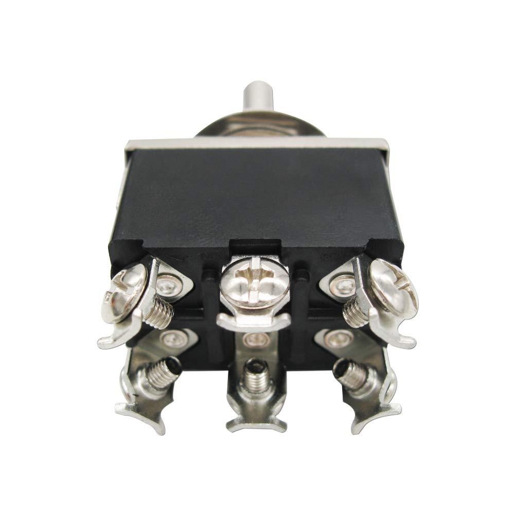 ON ON //Off// 6 Terminal 3 Position 5pcs Metal Knob Cover Cap Waterproof mxuteuk 3pcs Ten-223-5MZ Heavy Duty Momentary Rocker Toggle Switch 16A 250V 20A 125V DTDT 2 Years Warranty