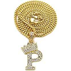 "Fashion 21 Unisex Small Size Pave Crown Tilted Initial Alphabet Letter Pendant 3mm 24"" Cuban Chain Necklace in Gold, Silver Tone (P - Gold Tone)"