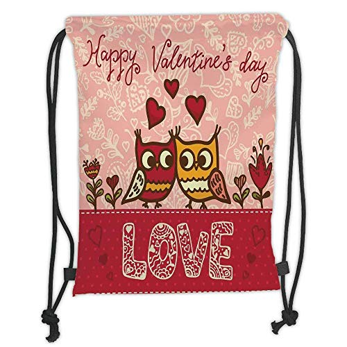Custom Printed Drawstring Backpacks Bags,Valentines Day,Owls in Love Print Cute Partners Couples Boho Style Hearts Flowers Dots,Pink Red Yellow Soft Satin,5 Liter Capacity,Adjustable String Closu