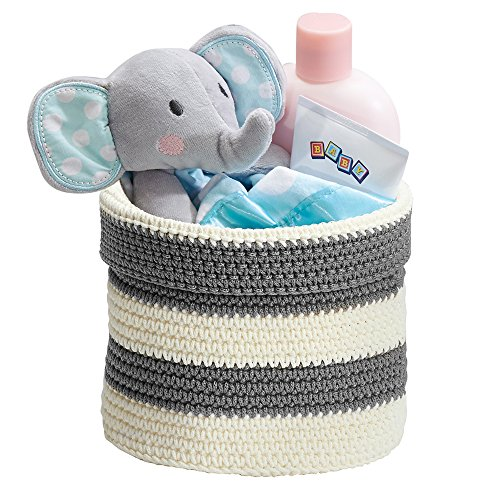 mDesign Hand Knit Round Toy Storage Organizer Basket Bin for Baby, Toddler, Kids Bedrooms, Playrooms, Nurseries - Perfect for Changing Table - Folds Flat for Compact Storage - Gray/White