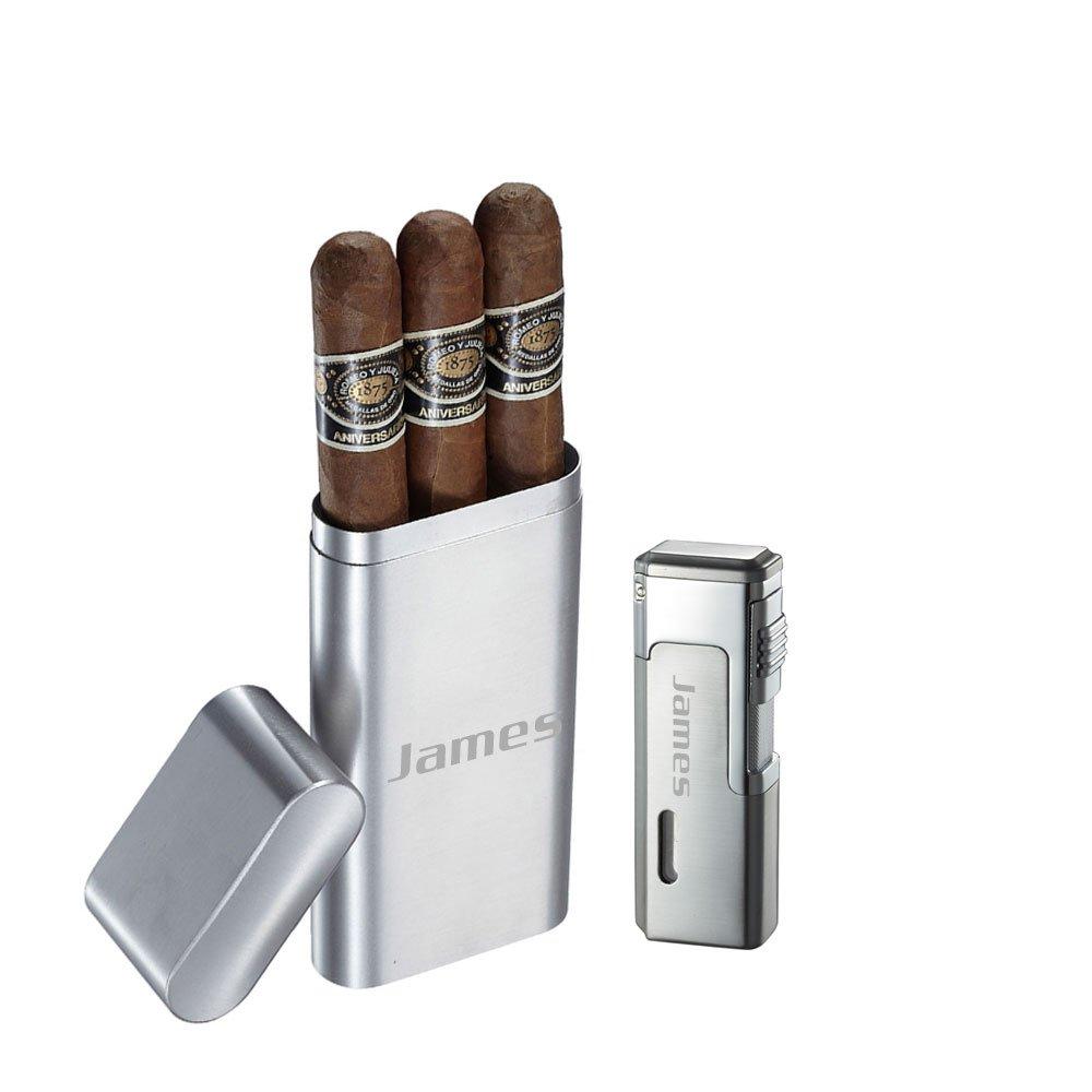 Visol Prato Brushed Stainless Steel 3 Finger Cigar Case and Visol Janus Triple Flame Torch Lighter With Free Laser Engraving