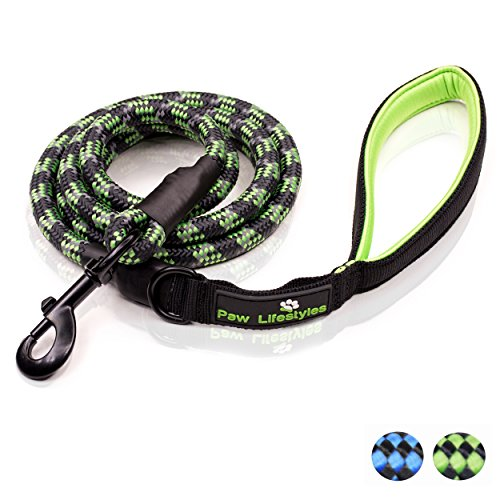 Heavy Duty Rope Leash (Extra Heavy Duty Rope Dog Leash - 6ft Long, Soft Padded Handle For Comfort, Reflective - Perfect Rope Leash for Medium and Large Dogs)