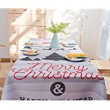 Toyo World Tablecloths White & Grey Decor-Christmas Decorative Printed Modern Tablecloth Rectangle by Waterproof Tablecloth Square - Tablecloths Polyester for Rectangle Tables 60 x 84 Inch