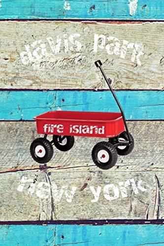 DAVIS PARK: 6x9 lined journal : long island summer vacation : red wagon boardwalk beach sand