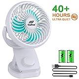 Battery Operated Clip on Stroller Fan - 40 Hours Portable Desk Mini Fan