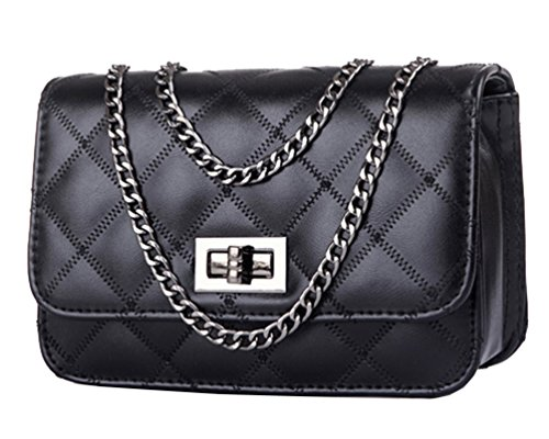 Urban CoCo Quilted Classic Single Flap Cross Body Messenger Shoulder Purse Bag Chain Strap (Small Flap Body Bag)