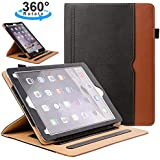 ZoneFoker iPad 6th/5th Generation 9.7 inch 2018/2017 Leather Case,Auto Sleep/Wake 360 Degree Rotating Multi-Angle Viewing Folio Stand Cases with Pencil Holder and Card Pocket - Black/Brown