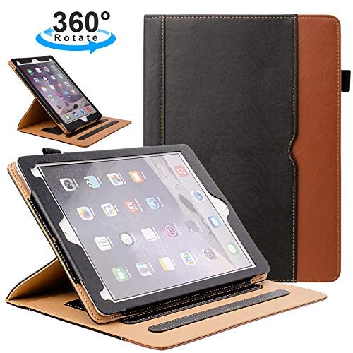 ZoneFoker New iPad 7th Generation Tablet Leather Case (10.2-inch - 2019 Releases) - 360 Degree Rotating Multi-Angle Viewing Folio Stand Cases with Pencil Holder for iPad 10.2 7th Gen - Black Brown