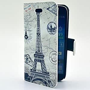 Eiffel Tower with Map Pattern PU Leather Soft Case with Card Slot and Stand for Samsung Galaxy S4 mini I9190