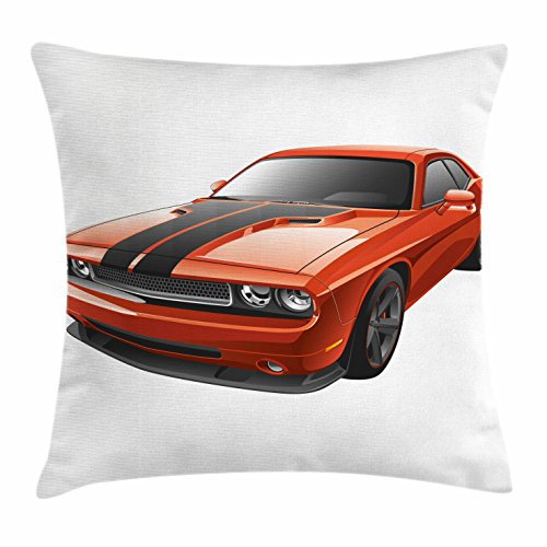 Lunarable Nursery Throw Pillow Cushion Cover, Modern Muscle Car Exotic Sports Hobby Activity Leisure Concept Design, Decorative Square Accent Pillow Case, 16 X 16 Inches, Charcoal Grey and Orange