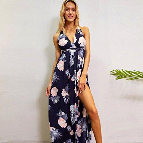 DOLDOA Mujeres Verano Sexy Boho largo vestido de fiesta vestido de playa Sundress Azul oscuro