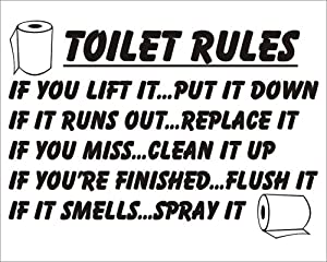 Toilet Rules If You Lift It Put It Down Bathroom Sticker Joke