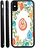 Rikki Knight Letter O Monogram Floral Art Peachy Blue Design Design iPhone X Hybrid TPU Case Cover (Black Rubber with Front Bumper Protection) for iPhone X
