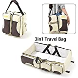 Cot with Changing Station WUPYI 3 in 1 Baby Changing Bags,Travel Cots Multi-Pockets Portable Travel Bassinet Infant Baby Bassinet Diaper Bag Changing Station Nappy Changing Bag for 0-12 Months Baby