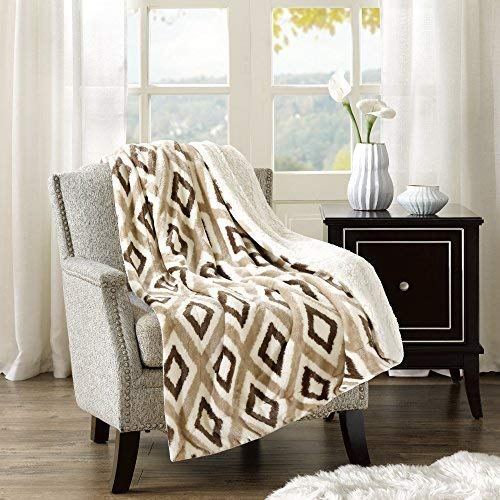 Comfort Spaces Sherpa/Plush Throw Blanket for Couch - 50x60 inches Lightweight Cozy Sofa Bed/Couch Throw for Beds Office Lap - Ikat - Khaki