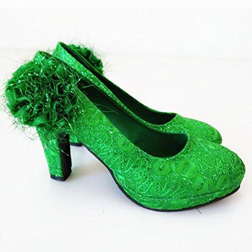 KHSKX-Zapatos De Boda Tacon De 8Cm Verde Duro Zapatos De Boda Impermeable Zapatos Comodos green
