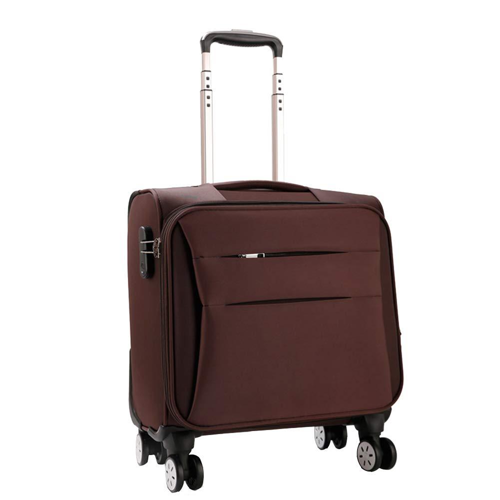 スーパー軽量旅行キャビン手荷物スーツケース4つの車輪、飛行許可ラップトップコンパートメントトロリーバッグ、拡張可能な旅行荷物(21インチ)を運ぶ。 B07K2STMMC Brown