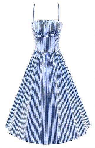 Betusline 60 50s Vintage Rayures Nautiques Audrey Hepburn Femmes Robe Complète 2 # Bleu