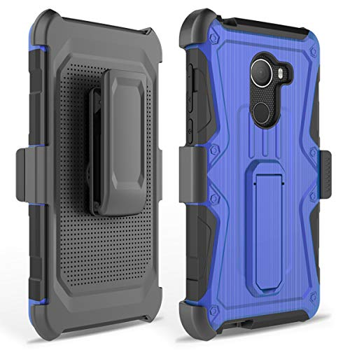 Phonelicious GreatCall Jitterbug Smart 2 Case Xtreme Armor [Heavy Duty] Hybrid Dual Layer Kickstand Belt [Holster Clip] Combo Rugged Tuff with Screen Protector & Stylus (Blue)