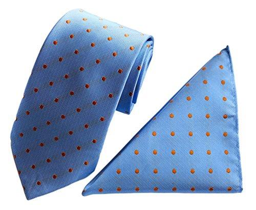 2 Piece Polka Dots Tie (MENDENG Mens Polka Dots Silk Tie Party Formal Necktie Handkerchief 2 Pieces Sets)