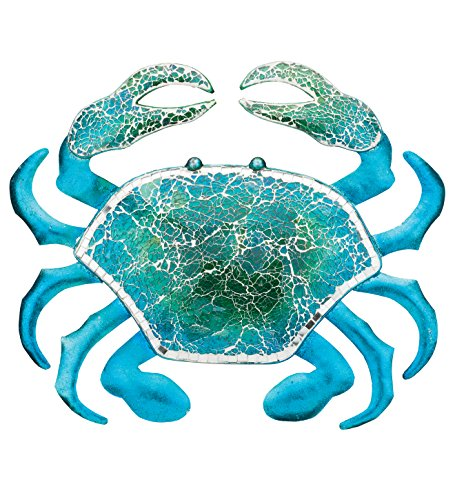 Regal Art & Gift 18.25 Inches X 1 Inches X 15.5 Inches Metal/Glass Wall Decor Crab - Blue by Regal Art & Gift