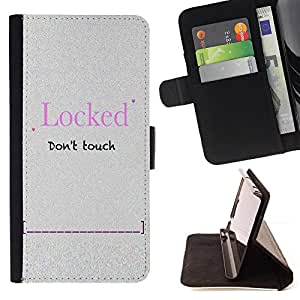 DEVIL CASE - FOR Samsung Galaxy S5 Mini, SM-G800 - Locked Password Slogan Sign Quote Funny - Style PU Leather Case Wallet Flip Stand Flap Closure Cover