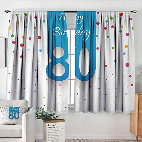 Home Decoration Thermal Insulated Curtains 80th Birthday,Abstract Sky Blue Eighty Image on The Colorful Polka Dots Artistic Print,Multicolor,for Bedroom,Nursery,Living Room 42