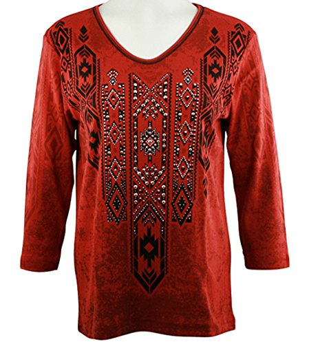 Cactus Bay - Jessie, 3/4 Sleeve, V-Neck, Rhinestone Accents Cotton Print Red Top