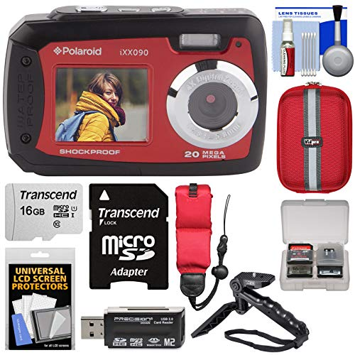 Polaroid iXX090 Dual Screen Shock & Waterproof Digital Camera (Red) with 16GB Card + Case + Shooting Grip Tripod + Strap + Kit