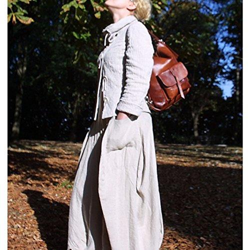 Borsa a spalla–Zaino da donna in vera pelle 2in1a mano. Alhambra, colore: blu Navy