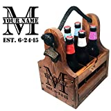Personalized Wood Beer Caddy with Bottle Opener and Magnetic Bottle Cap Catcher. Handmade Rustic Wooden Six Pack Tote/Carrier - Split Monogram with Est. Date