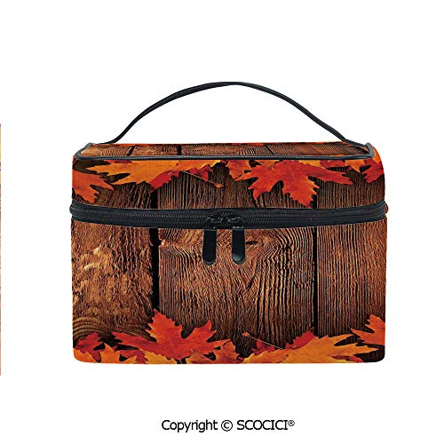 - Lightweight Cosmetic Travel Bag Beauty Toiletry Bag Dry Leaves Poured Onto Wooden Board Cabin Cottage Rustic Country Life Theme Print Decorative Portable Multi-function Organizer